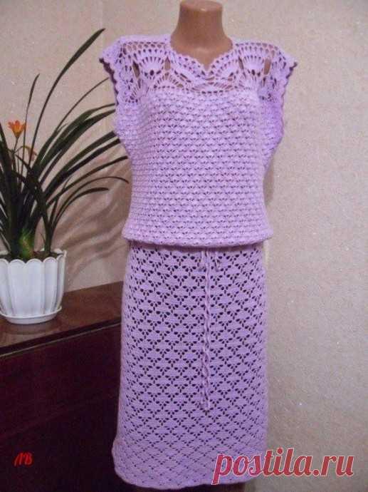 Нежное платье, связанное крючком
