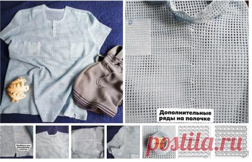 Рубашка-поло мужская крючком