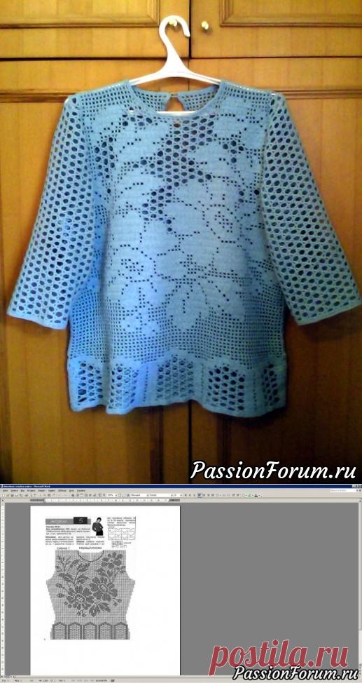 c962bdf956ca Схема к филейной голубой кофте. - запись пользователя Екатерина (Екатерина)  в сообществе Вязание