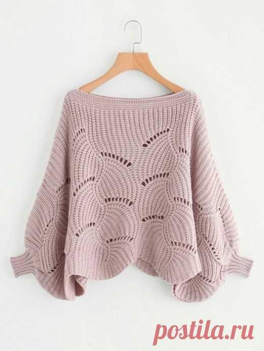 Нежный узор для широкого пуловера из категории Интересные идеи – Вязаные идеи, идеи для вязания
