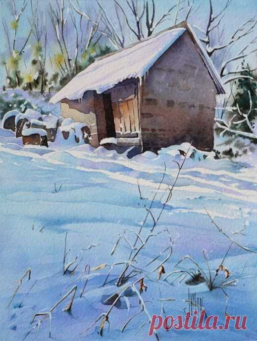 Рисуем зимний пейзаж акварелью