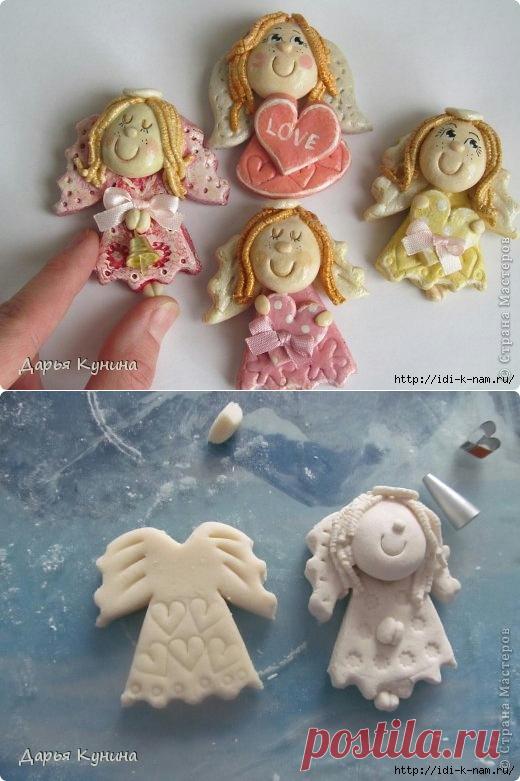Простые ангелочки из соленого теста фото