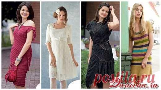 Вязаные летние платья спицами со схемами