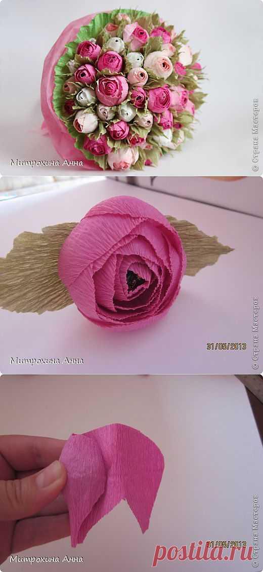 (+1) сообщ - Очень красивые бутоны роз из гофрированной бумаги. Мастер-класс | Хвастуны и хвастушки