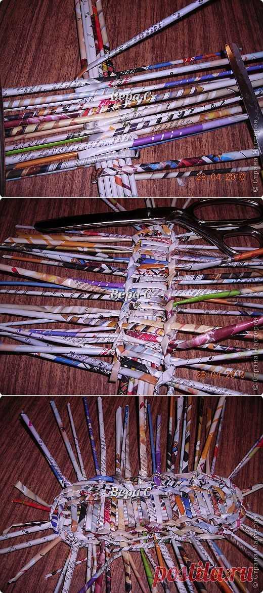 Опять газета... плетение овального донышка... плетение двумя палочками ( 1 часть) | Страна Мастеров
