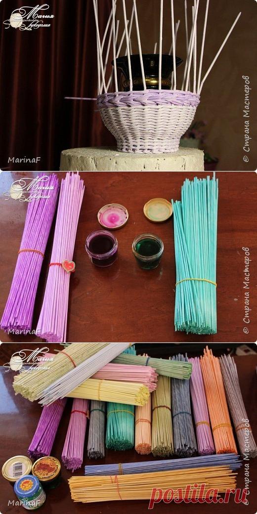 Окраска бумажных трубочек / Необычные поделки