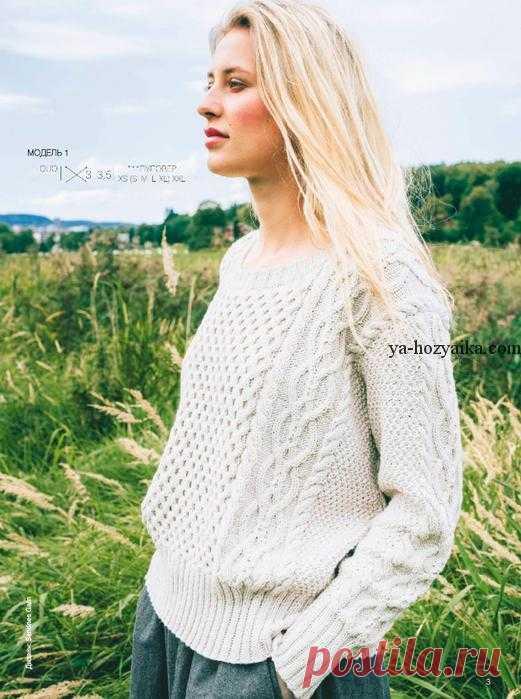 белый пуловер спицами вязаные женские свитера спицами с описанием