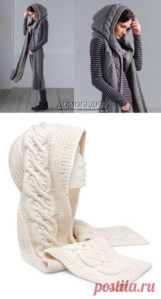 шарф капюшон спицами мастер класс схема Nebkaru вязание