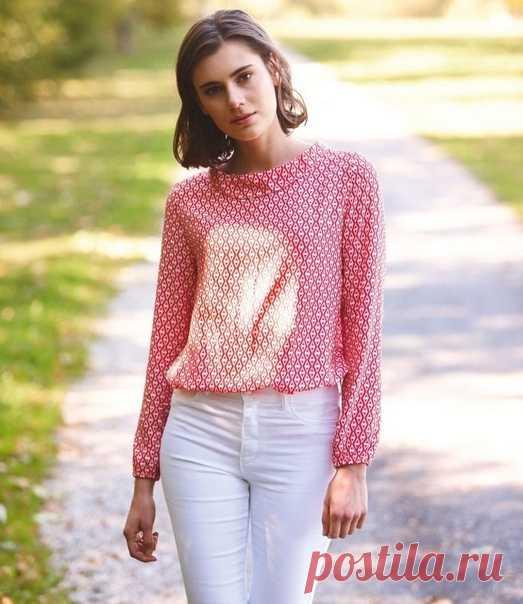 Выкройка женской блузы размер 34-46 Евро Источник https://blog.bernina.com/de/2020/04/blusenshirt-naehe..