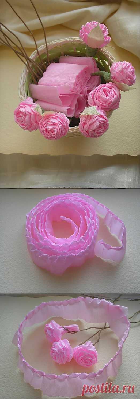 Цветы из гофрированной бумаги. МК крученые розочки.