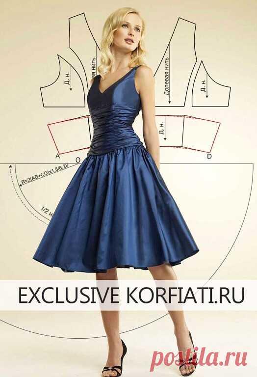 Выкройка платья с драпировкой  https://korfiati.ru/2017/06/vyikroyka-platya-s-drapirovkoy/  Это яркое эффектное платье из переливчатой тафты идеально подойдет для любого торжественного случая. Козыри этой модели неоспоримы! Во-первых, — это ткань: переливчатая тафта насыщенного цвета сапфировый синий — само название завораживает, не правда, ли? Во-вторых — летящая юбка-солнце, создающая невероятно женственный силуэт. И самый главный козырь — драпировка по лифу, придающая д...