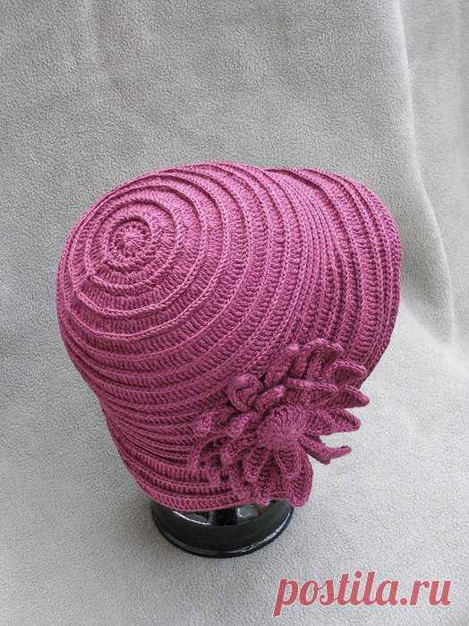 розовая шляпка с цветами - Вязание - Страна Мам