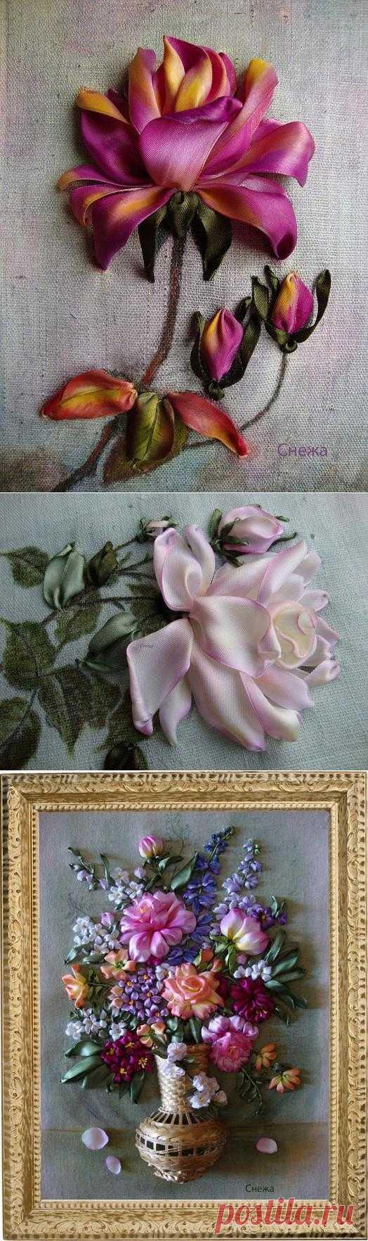 (+1) - Прекрасные розы Инессы Тимониной. Вышивка лентами | РУКОДЕЛИЕ