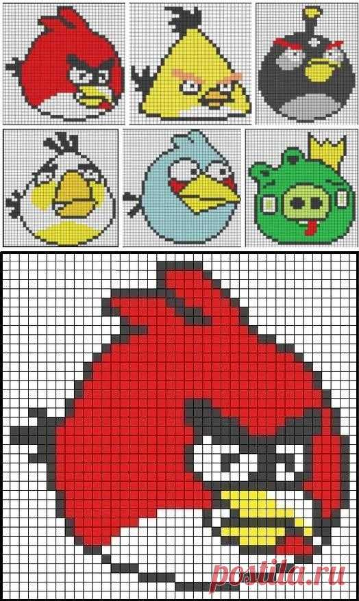 Schemes for embroidery of Angry Birds