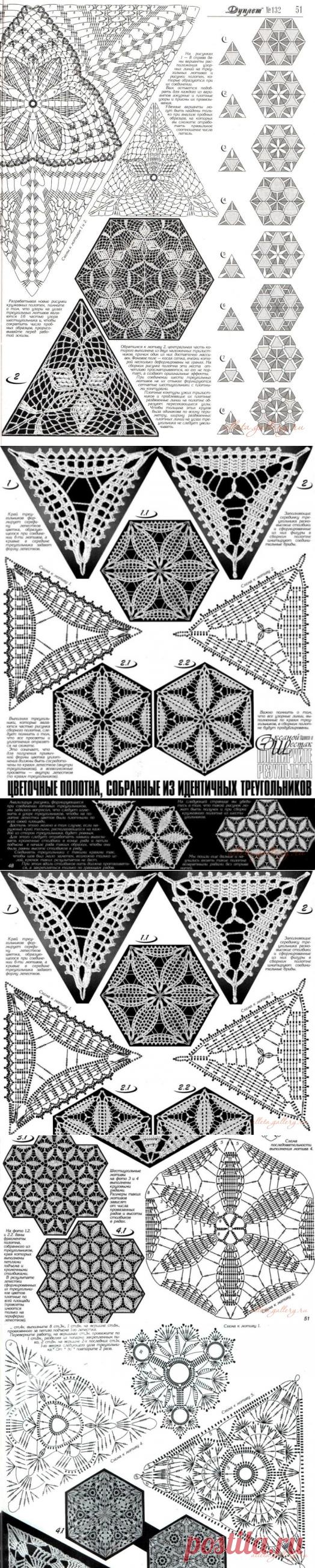 Крючком ленточное вязание триугольных мотивов