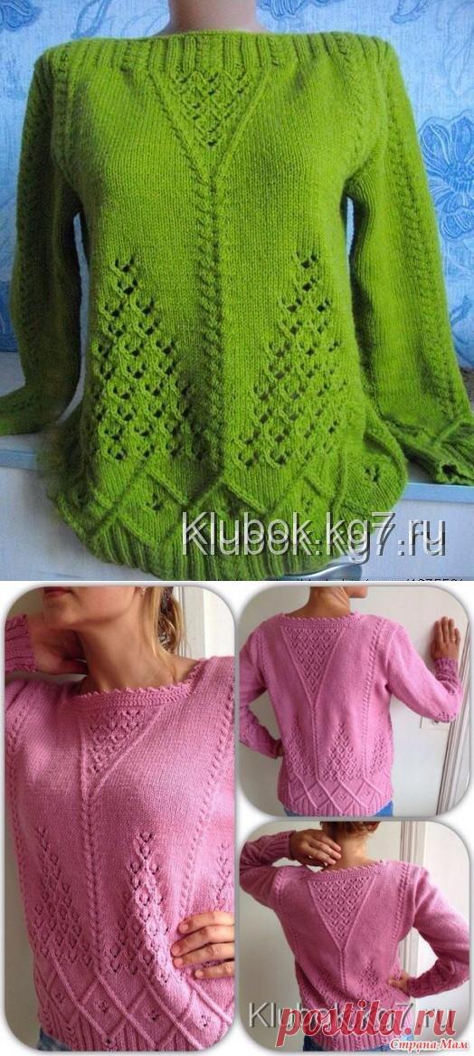 узорчатый пуловер спицами работа светланы заец вязание постила