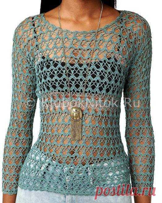 Ажурная кофточка   Вязание для женщин   Вязание спицами и крючком. Схемы вязания.