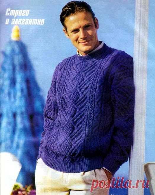 Синий узорчатый пуловер для мужчины - Портал рукоделия и моды