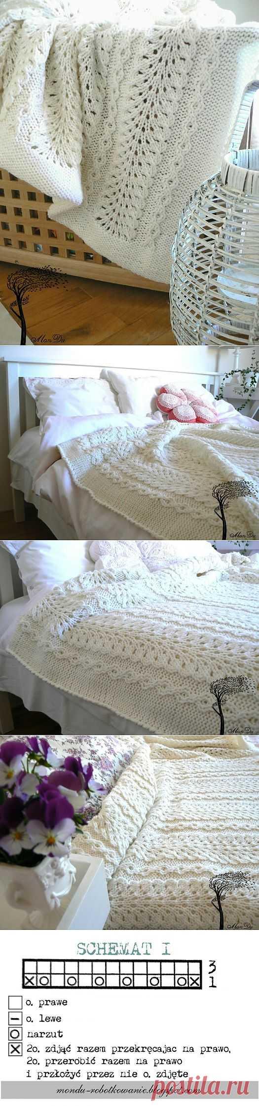 Шикарное покрывало спицами. Схемы вязания.