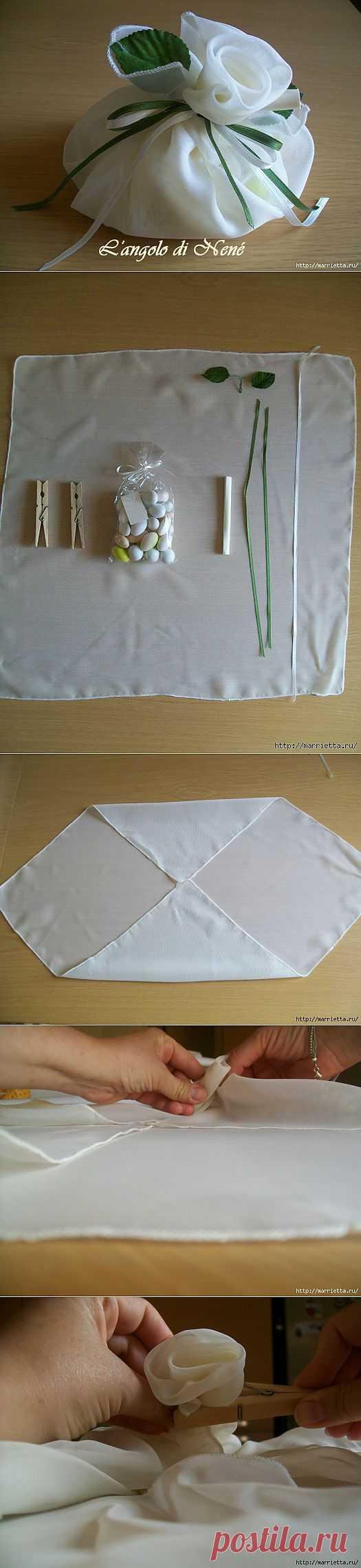 Шифоновая упаковка подарка. Мастер-класс