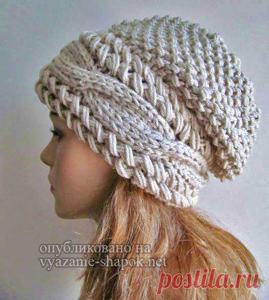 шапка спицами с косами поперек от вики вязание шапок модные и