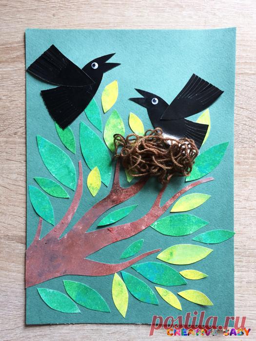 Аппликация Грачи прилетели - весенние птицы в гнезде Давайте сделаем аппликацию «Грачи прилетели», такая птичка отлично подойдет в качестве весенней поделки в детский сад!