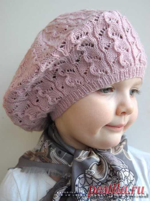 Берет для девочки (Вязание спицами) | Журнал Вдохновение Рукодельницы