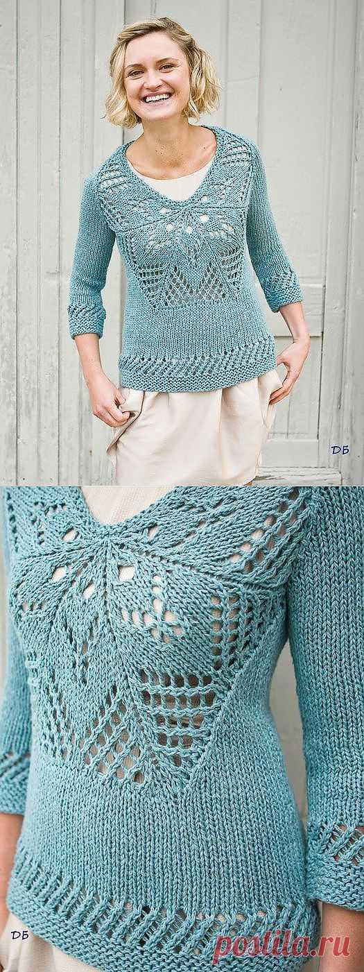Пуловер с ажурной вставкой из Berroco.
