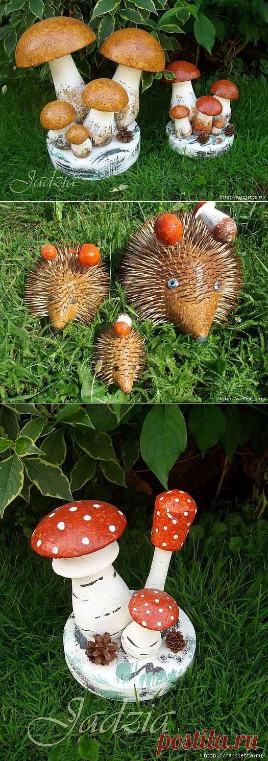 Как сделать грибочки из пенопласта и монтажной пены.