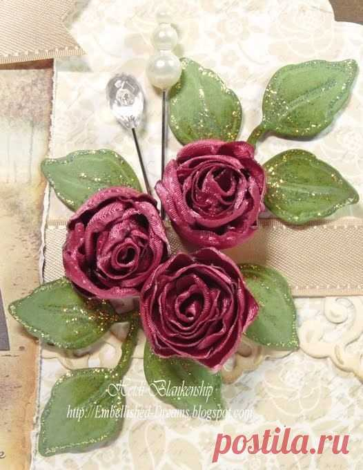 Roses from a satin ribbon