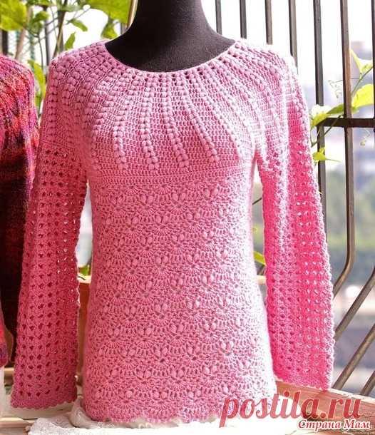 Розовый пуловер с круглой кокеткой. - Все в ажуре... (вязание крючком) - Страна Мам