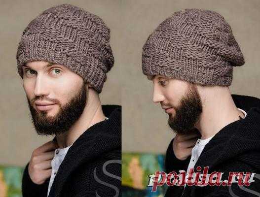 мужская шапка спицами из лицевых и изнаночных петель вязание постила