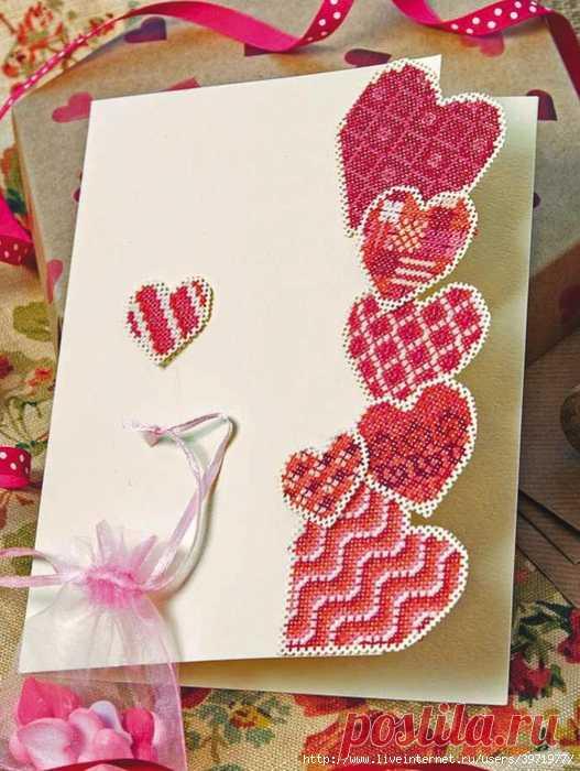 вышитые открытки сердечки для