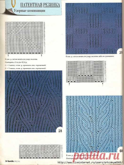 схемы патентных узоров вязания спицами