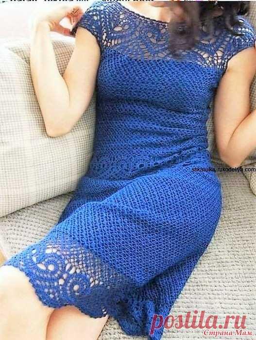 Ажурное платье цвета ультрамарин. В этом эффектном и нарядном платье цвета ультрамарин прекрасно сочетаются узор и очень красивые мотивы напоминающий сердечко которые идут по подолу поясу и кокетке изделия. Выкройка