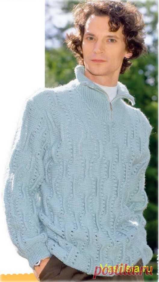 debe87a1bc73 Мужской пуловер с воротником стойка на молнии   Вязание спицами и крючком
