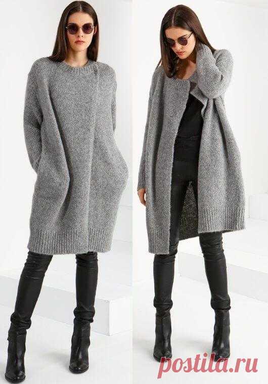 Вязаное пальто спицами для женщин схемы, мода и сезон