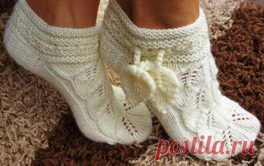 шикарные носочки тапочки своими руками вязание спицами вязание