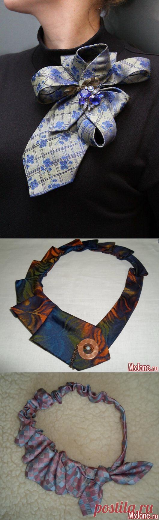 Превращение мужского галстука в женский аксессуар