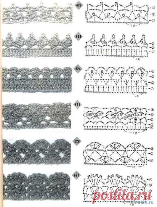Обвязка края крючком, схемы / детские шапочки, шарфики, пинетки.