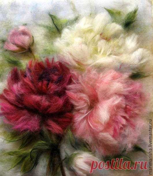 To buy the Picture from wool Peonies, the Romantic garden - pink, a picture from wool, painting by wool, Painting