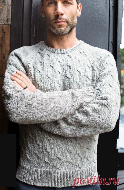 7e8fddb0c47 Мужской вязаный пуловер-реглан