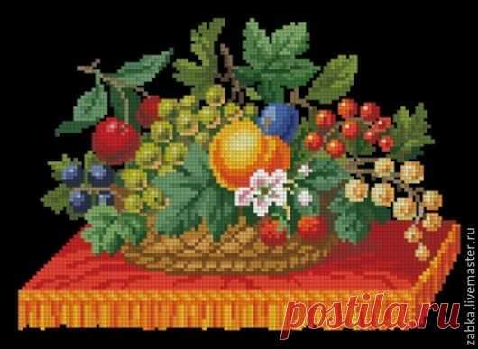 Купить Корзинка с ягодами (схема для вышивки) - комбинированный, схема вышивки, схема для вышивки