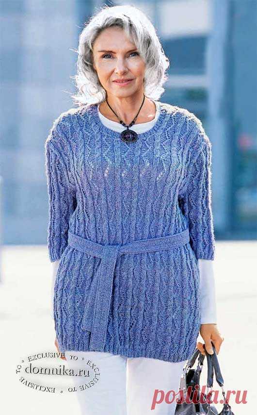 Элегантный джемпер спицами для женщин старше 60 лет - описание и схемы