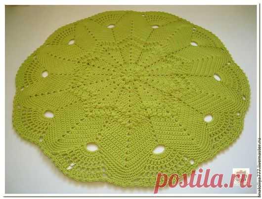 купить вязаный коврик из шнура звезда салатовый вязанный коврик