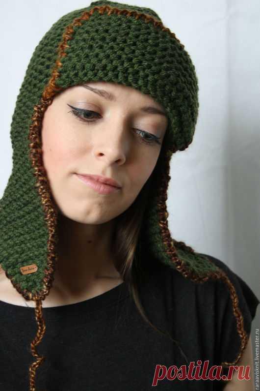 купить вязаная шапка ушанка женская мужская вязаная шапка шапка