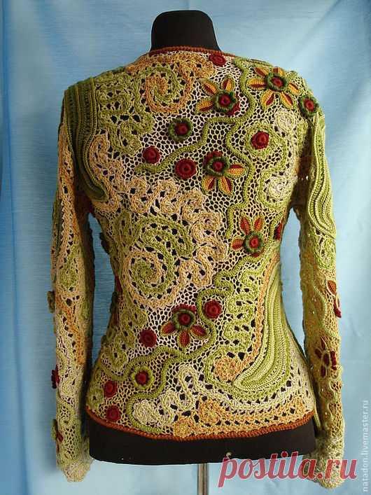 """Купить Джемпер """"Осенняя мелодия"""" - фриформ, наборное кружево, джемпер, брюггское кружево, осенняя гамма"""