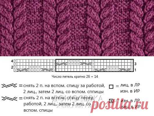 Легкий узор для вязания на спицах