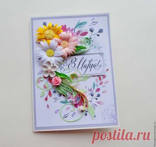 8 марта открытка квиллинг