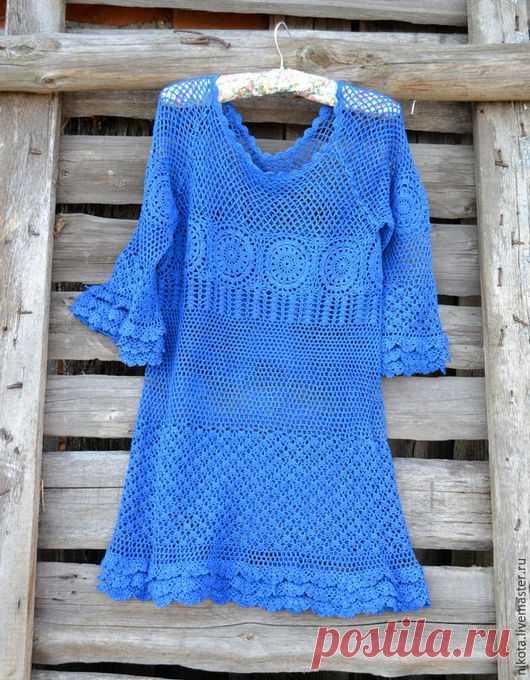 86b58000d3fb Купить Летняя туника-платье 'Лазурит' - синий, пляж, пляжная мода ...